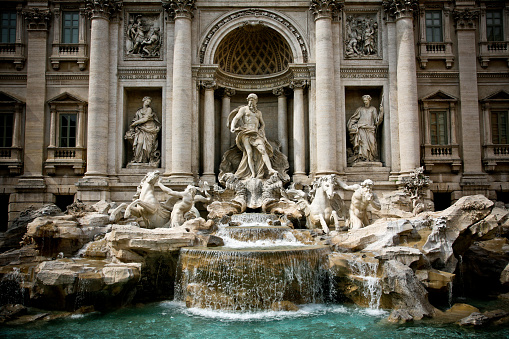 The majestic facade of the Trevi Fountain in the historic center of Rome