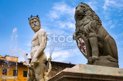 Florence, Italy -- A detailed view of the fountain of Neptune, the work of the artist Bartolomeo Ammannati in 1563, much loved by the Florentines and lovingly called