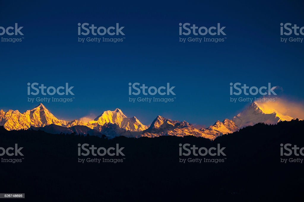 The majestic Kanchenjunga range of the Himalayas stock photo