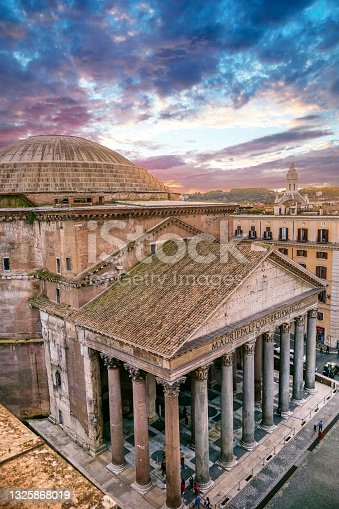 istock The majestic Roman Pantheon at sunset from the rooftops of the historic heart of Rome 1325868019