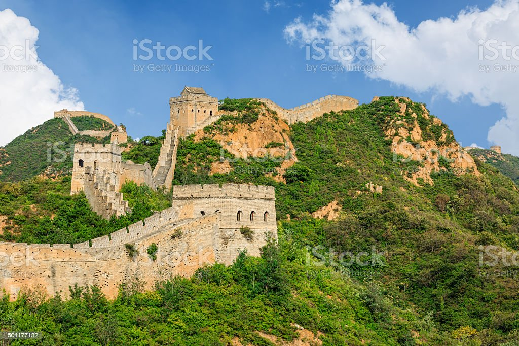 The Majestic spectacular Great Wall of China stock photo