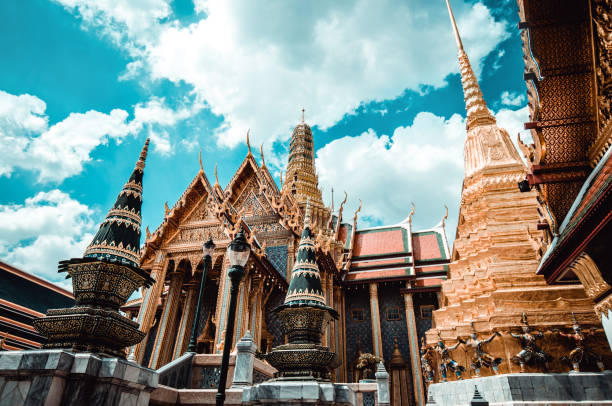 The Majestic Temple Of The Emerald Buddha In Bangkok, Thailand The Majestic Temple Of The Emerald Buddha In Bangkok, Thailand indochina stock pictures, royalty-free photos & images
