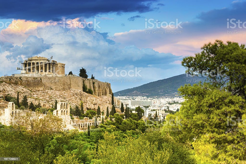 The Majestical acropolis in Athens, Greece stock photo