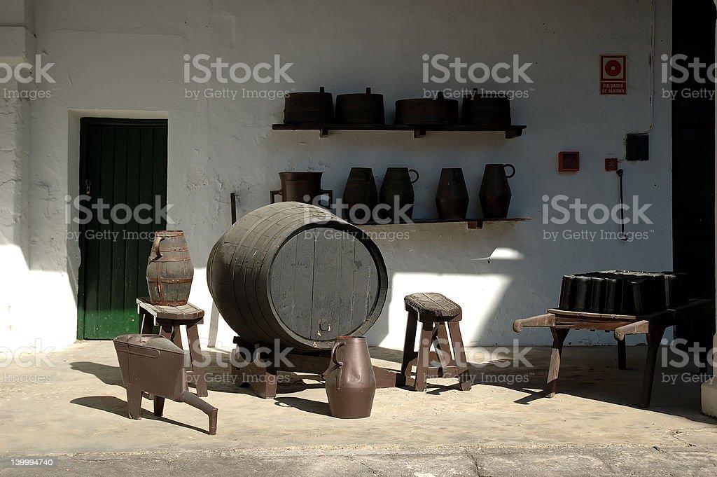 The making of sherry wine stock photo