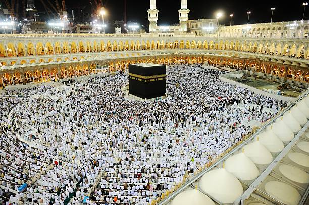 The Makkah Kaaba Hajj filled with Muslim audience Islamic Holy Place in Mecca, Saudi Arabia circumambulation stock pictures, royalty-free photos & images