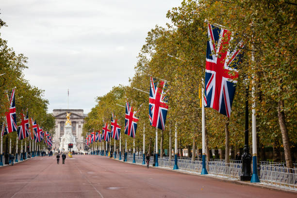 The Mall decorated with Union Jack flags London UK stock photo