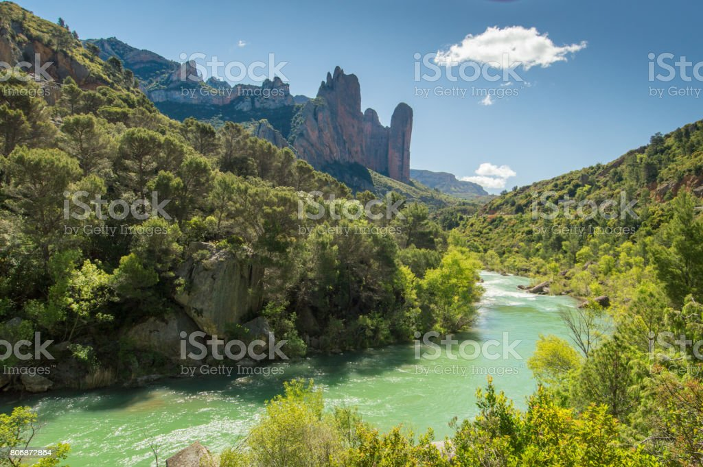 The Mallos de Riglos rock formations at the foothills of the Pyrenees stock photo