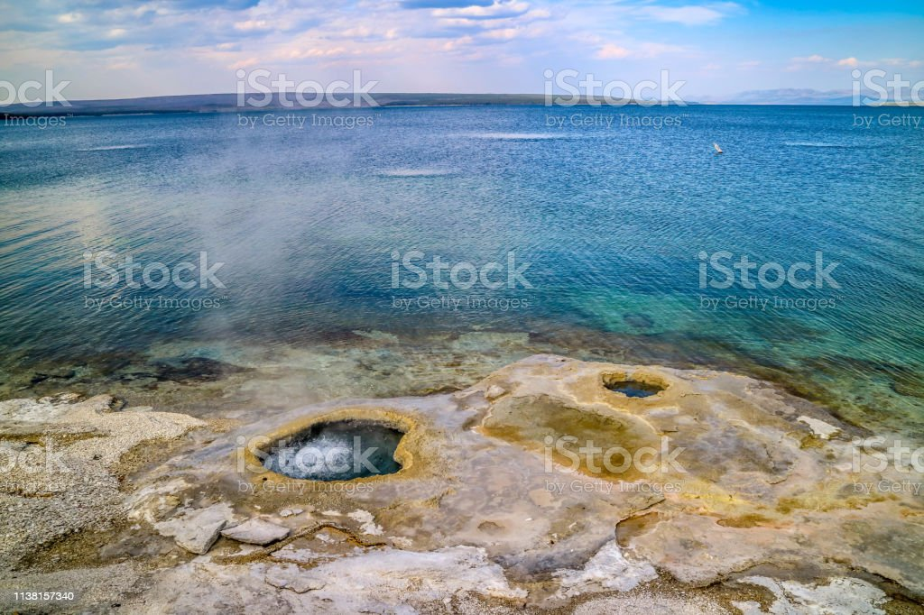 The Mammoth Hot Springs Area in Yellowstone National Park, Wyoming stock photo