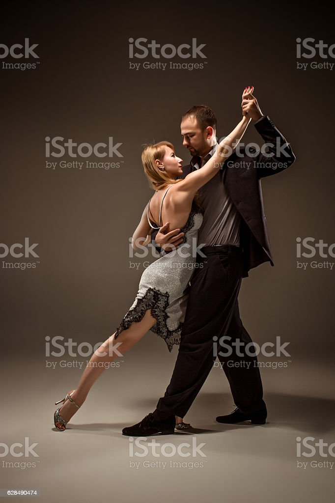 The man and the woman dancing argentinian tango stock photo