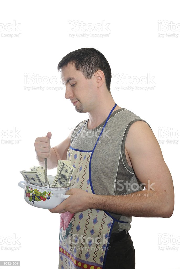 The man cooking money royalty-free stock photo