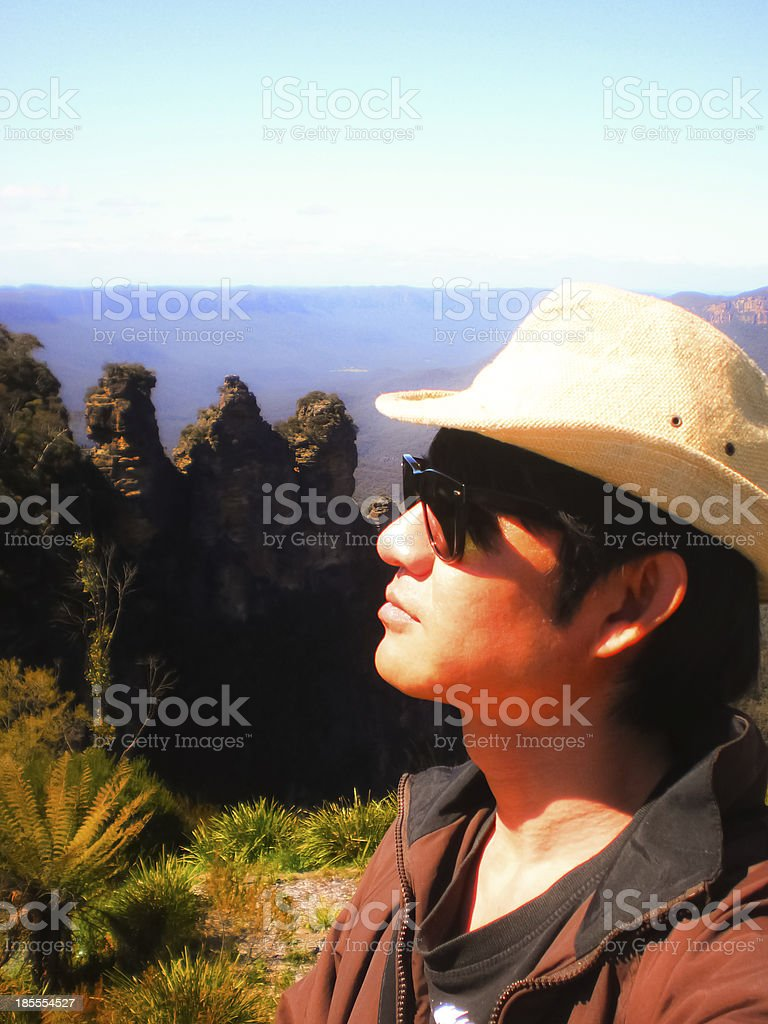 The man in nature. stock photo