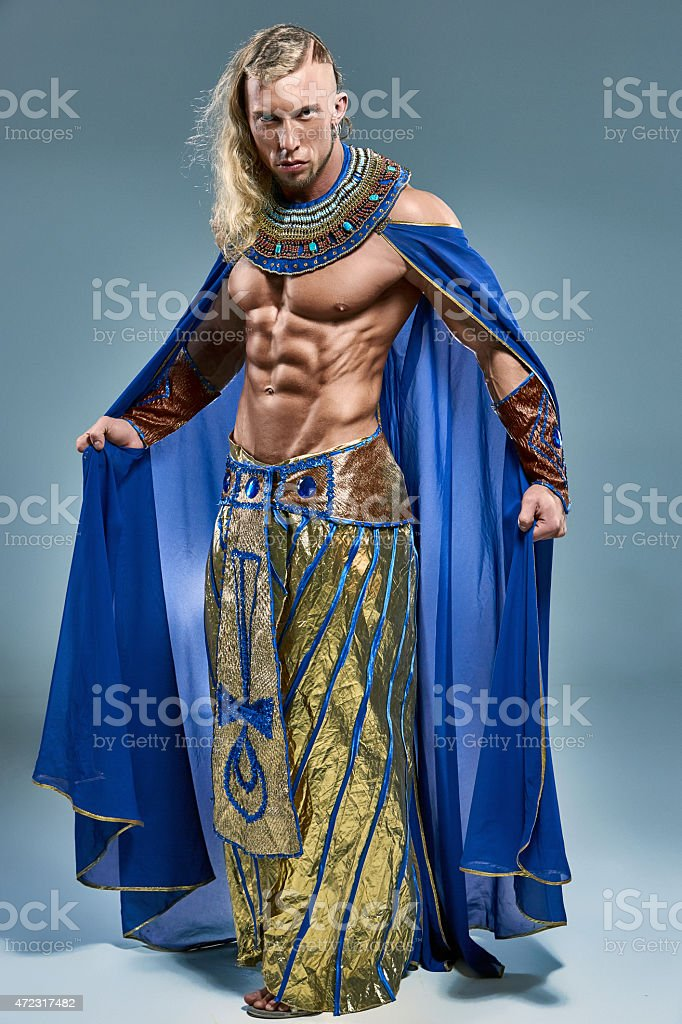 The man in the image of ancient Egyptian Pharaoh stock photo