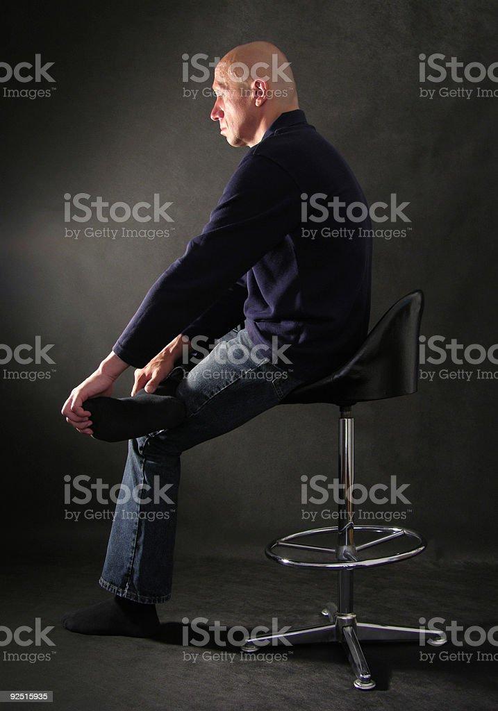 The man looks at light stock photo