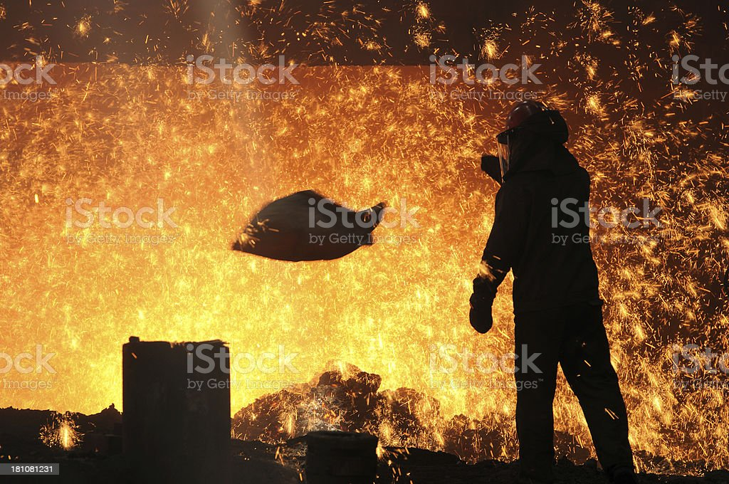 The man of making  steel and iron royalty-free stock photo