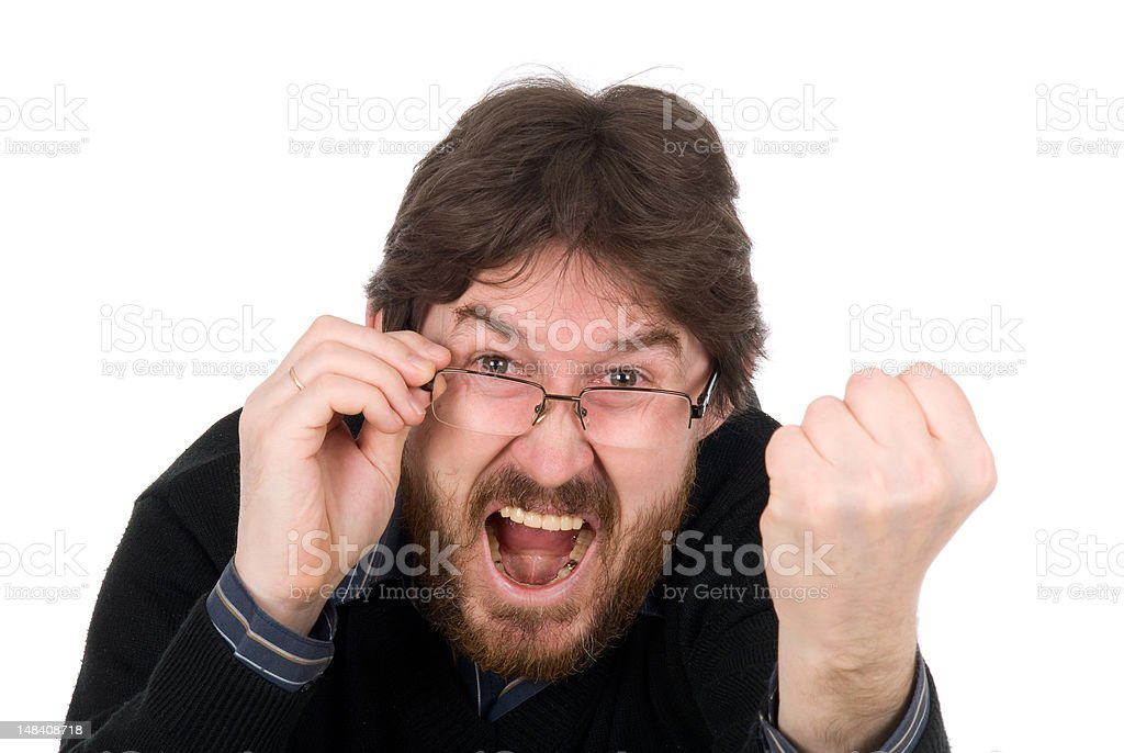 The man shakes fist stock photo