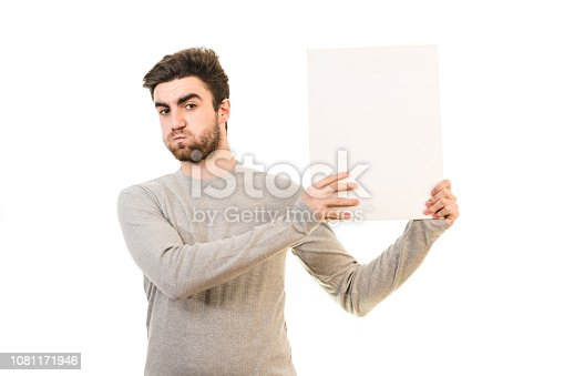 istock The man showing the blank paper on the white background 1081171946