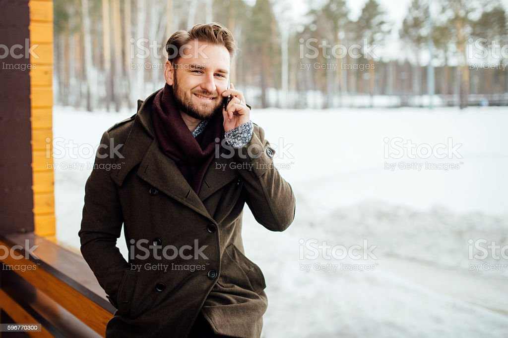 the man speaks by phone stock photo