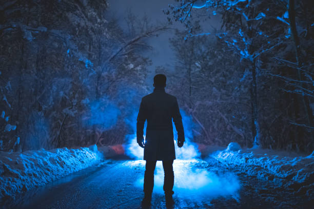The man stand near the smoke in the winter forest evening night time picture id1082549414?b=1&k=6&m=1082549414&s=612x612&w=0&h=6yrlua xnjbyejl7koudy 5rb103ebsuoifgdgtb2w8=