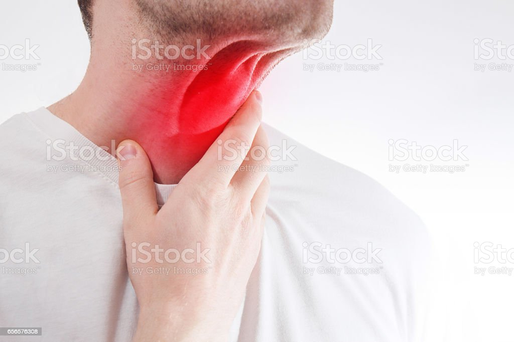 The Man Touches His Sore Throat Neck Temperature Runny Nose Illness