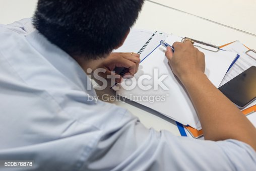 istock The man wake up after lunch break at office 520876878