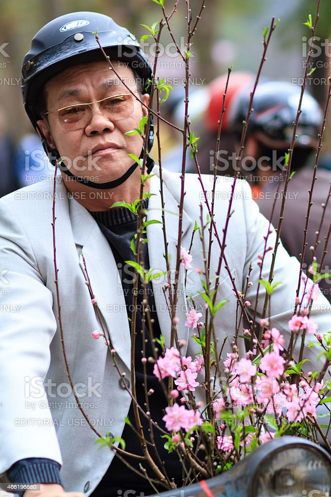 The man went to buy flowers Training stock photo