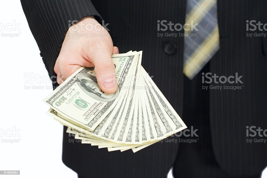 The man with dollars stock photo