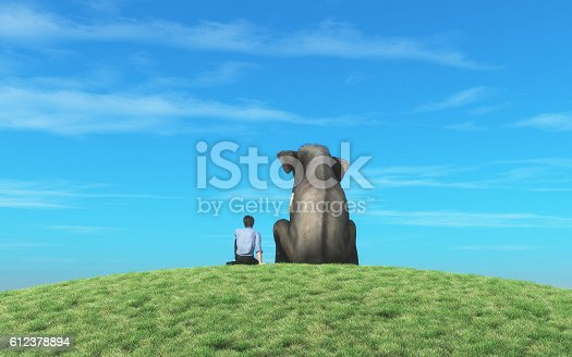 istock The man with elephant 612378894