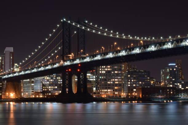 The Manhattan Bridge at Night stock photo