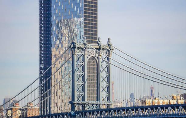 The Manhattan Bridge in New York City, New York USA stock photo
