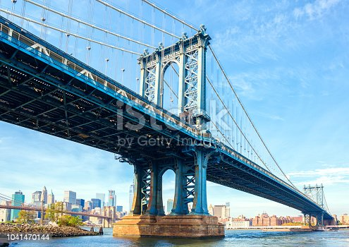 The Manhattan Bridge, New York City, United States. In the background  Manhattan and  Brooklyn Bridge.