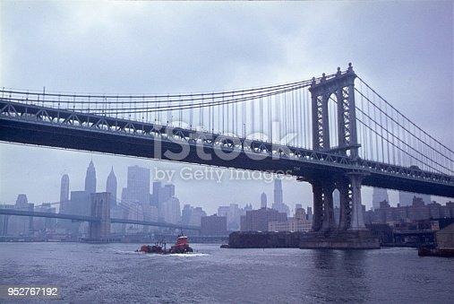 New York City, NYS, USA, 1968. The Manhattan Bridge seen from the Estside River.