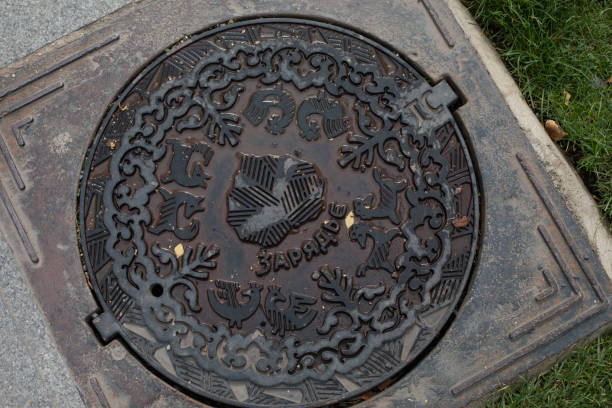 The manhole cover in zaryadye park is wet from rain round castiron picture id1280801904?b=1&k=6&m=1280801904&s=612x612&w=0&h=x51en0lisdrfy03vffwwchbucwu33gf9o6dldxvu9di=