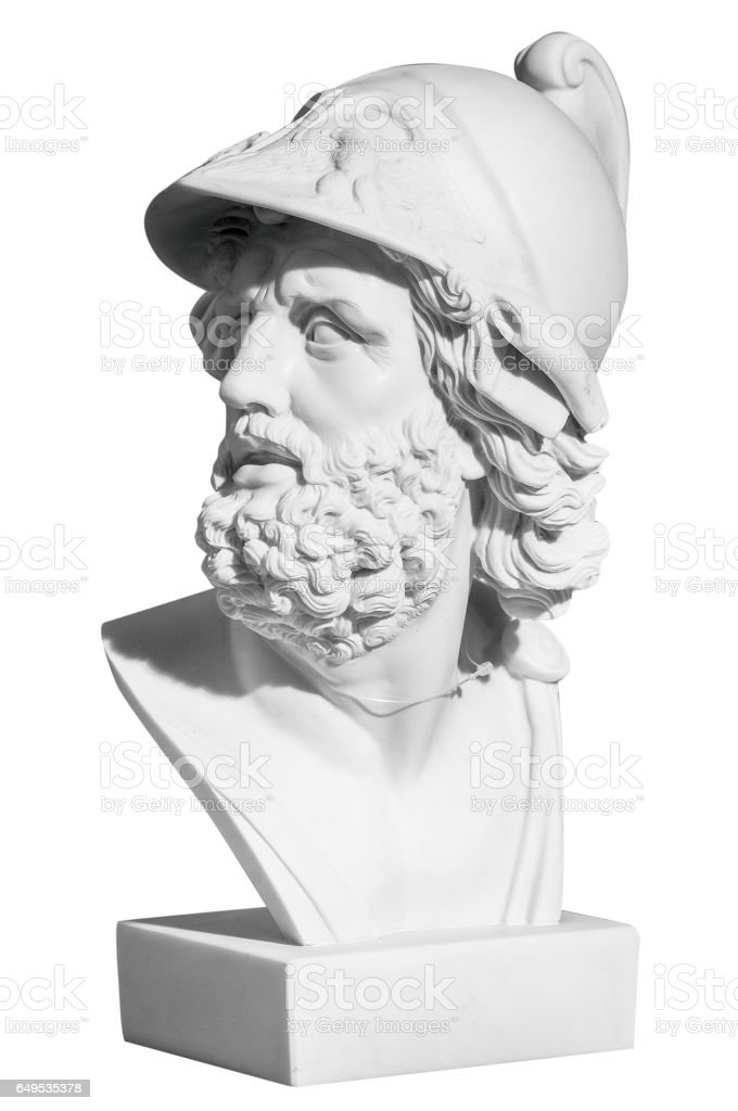 The man's head in a helmet in a classical style on a white background stock photo