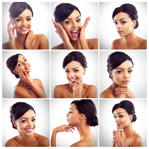 The many sides to her beauty stock photo