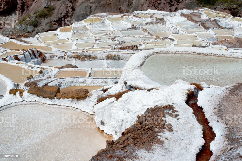 The Maras salt ponds located at the Peru's Sacred Valley royalty-free stock photo