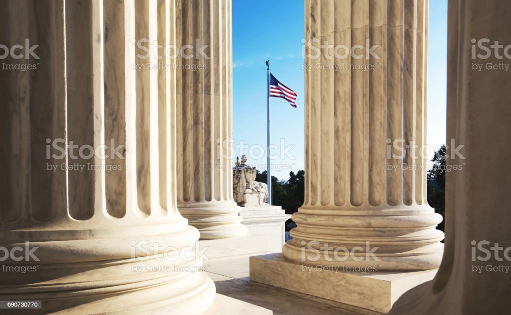 The marble columns of the Supreme Court of the United States stock photo