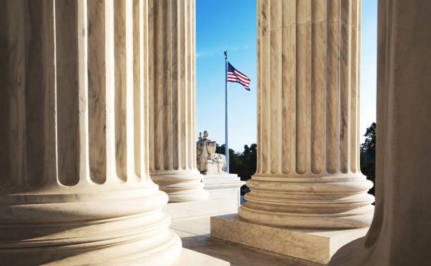 the marble columns of the supreme court of the united states - government stock pictures, royalty-free photos & images