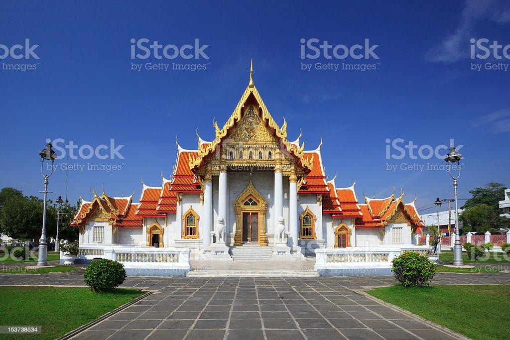 The Marble Temple(Wat Benchamabophit), Bangkok, Thailand stock photo