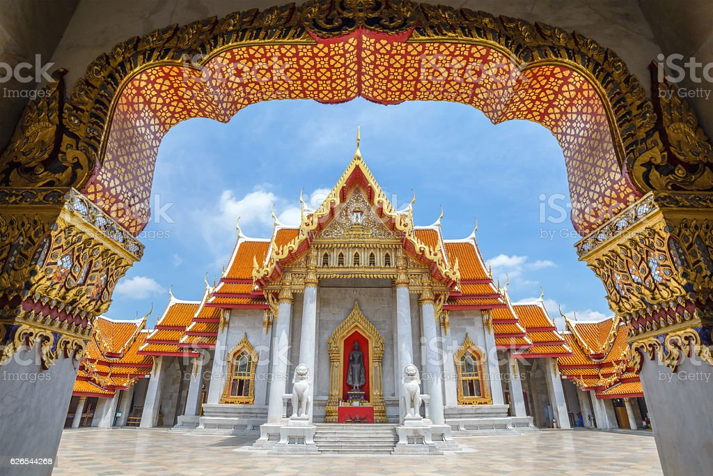 The Marble Temple or Wat Benchamabophit, Bangkok, Thailand stock photo