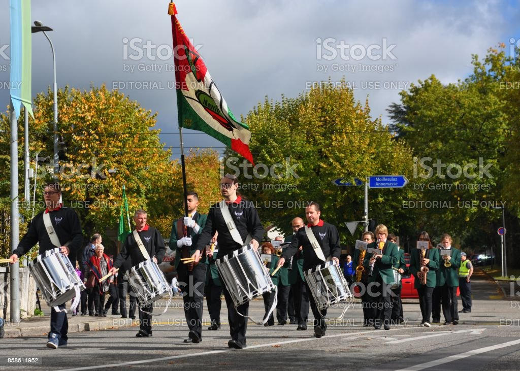 The marching band in street for celebration stock photo