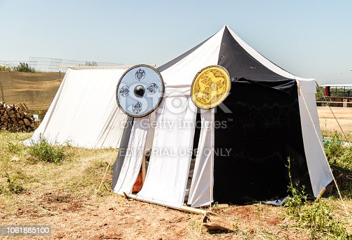 1061685100istockphoto The  marching tent of the participant of the knight festival in Goren park in Israel 1061685100