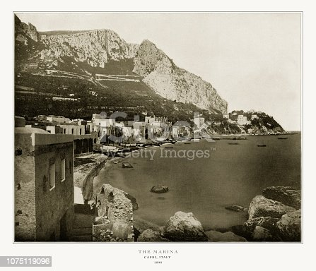 Antique Italian Photograph: The Marina, Capri, Italy, 1893. Source: Original edition from my own archives. Copyright has expired on this artwork. Digitally restored.