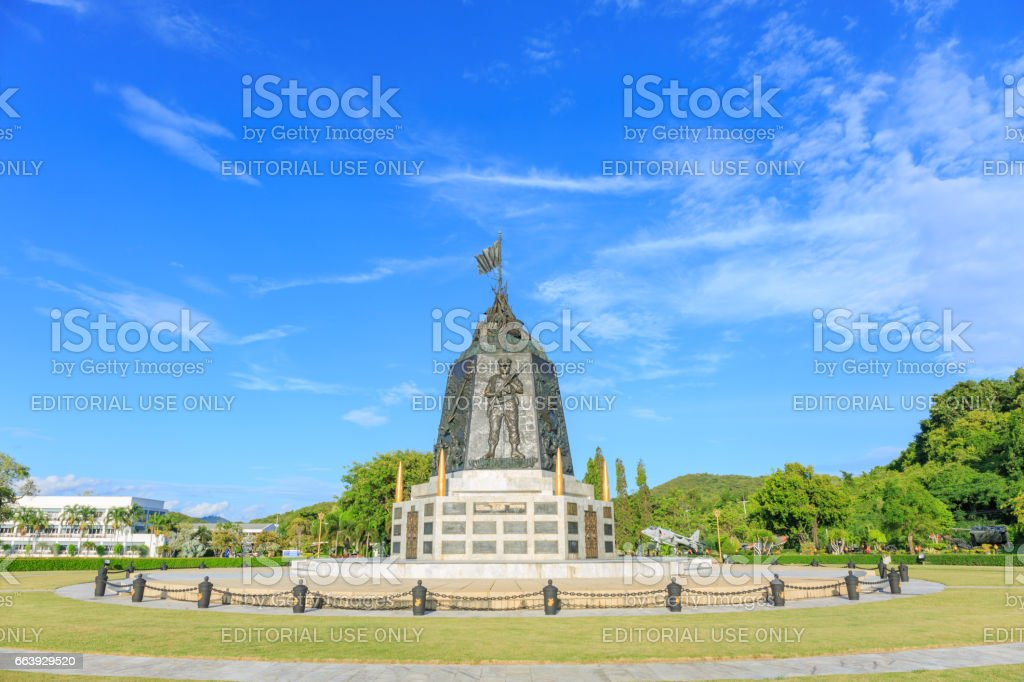SATTAHIP, THAILAND – MAY 25, 2017 : The Marine Corps Monument along the sea in day time in Sattahip Chonbur, Thailand. stock photo