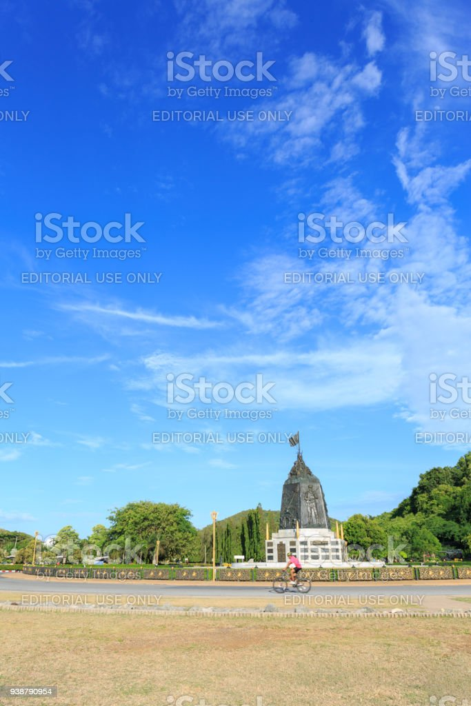 The Marine Corps Monument along the sea in day time in Sattahip Chonburi  , Thailand. stock photo