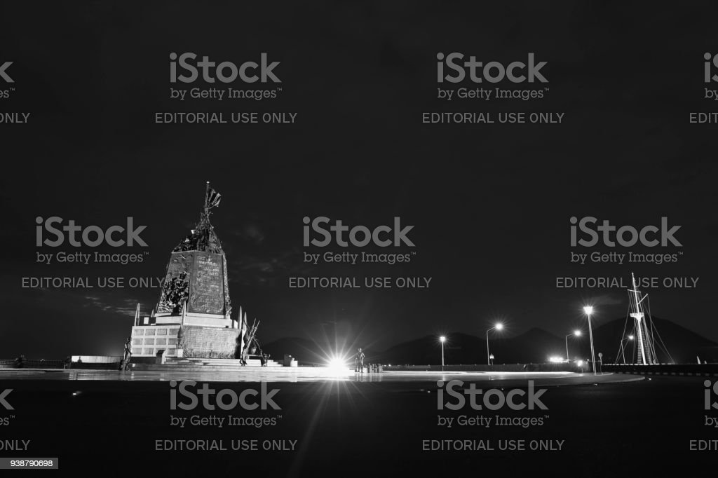 The Marine Corps Monument along the sea in night time in Sattahip Chonburi  , Thailand. stock photo