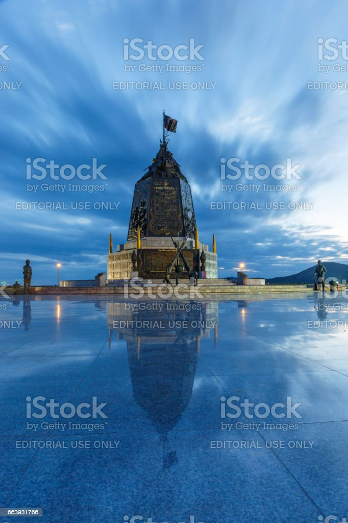SATTAHIP, THAILAND - APRIL 1, 2017 : The Marine Corps Monument along the sea in twilight time in Sattahip Chonburi, Thailand. stock photo