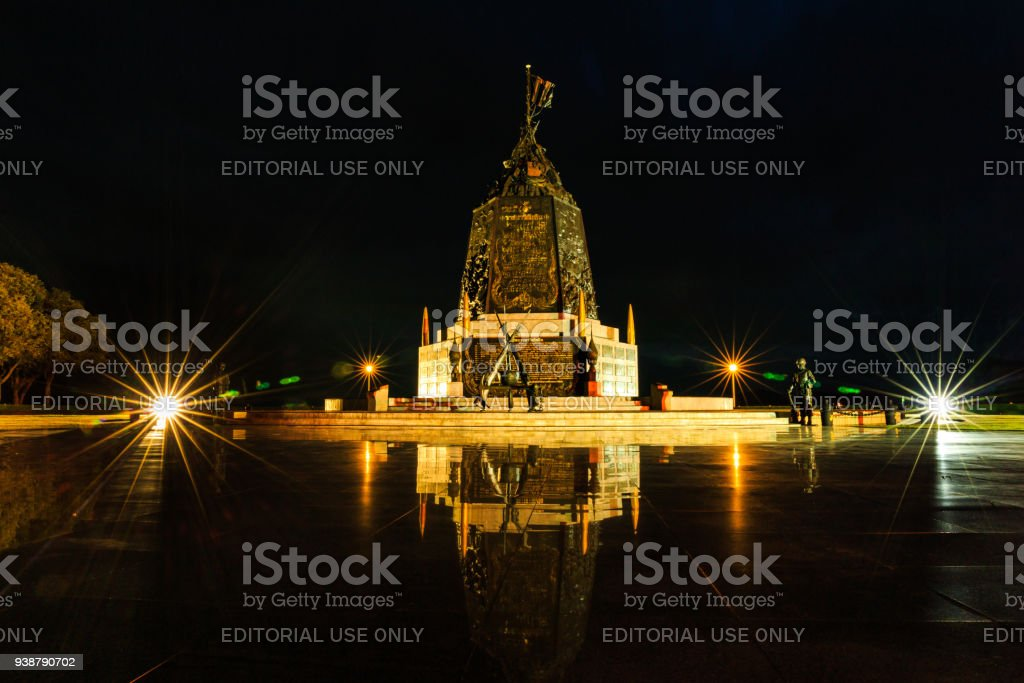 The Marine Corps Monument along the sea in twilight time in Sattahip Chonburi  , Thailand. stock photo