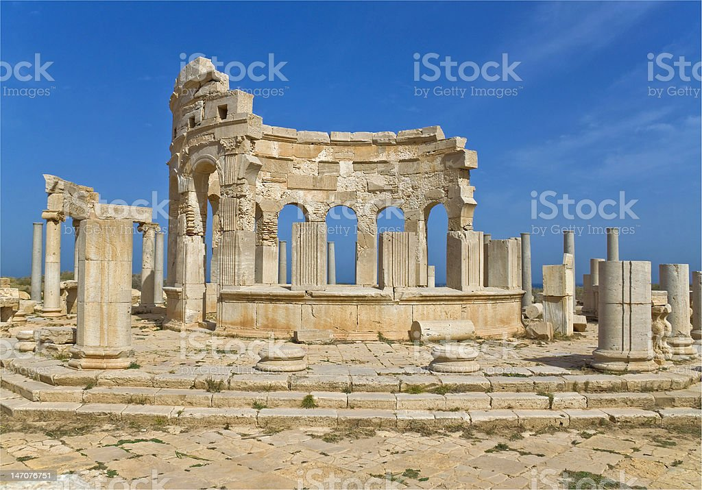 The Market at Leptis Magna stock photo