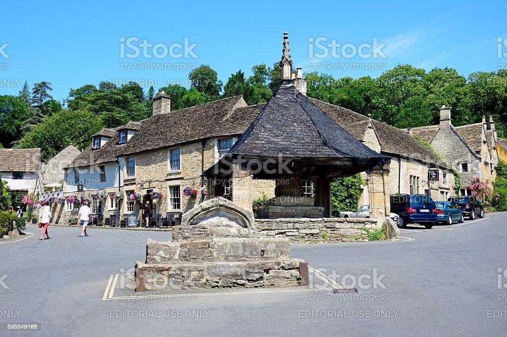 The Market Cross in the village centre, Castle Combe. stock photo