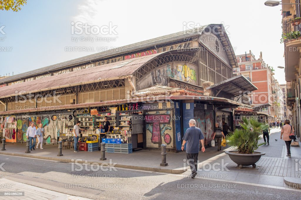 The market, Mercat de Albarceria Central in Gracia, Barcelona stock photo